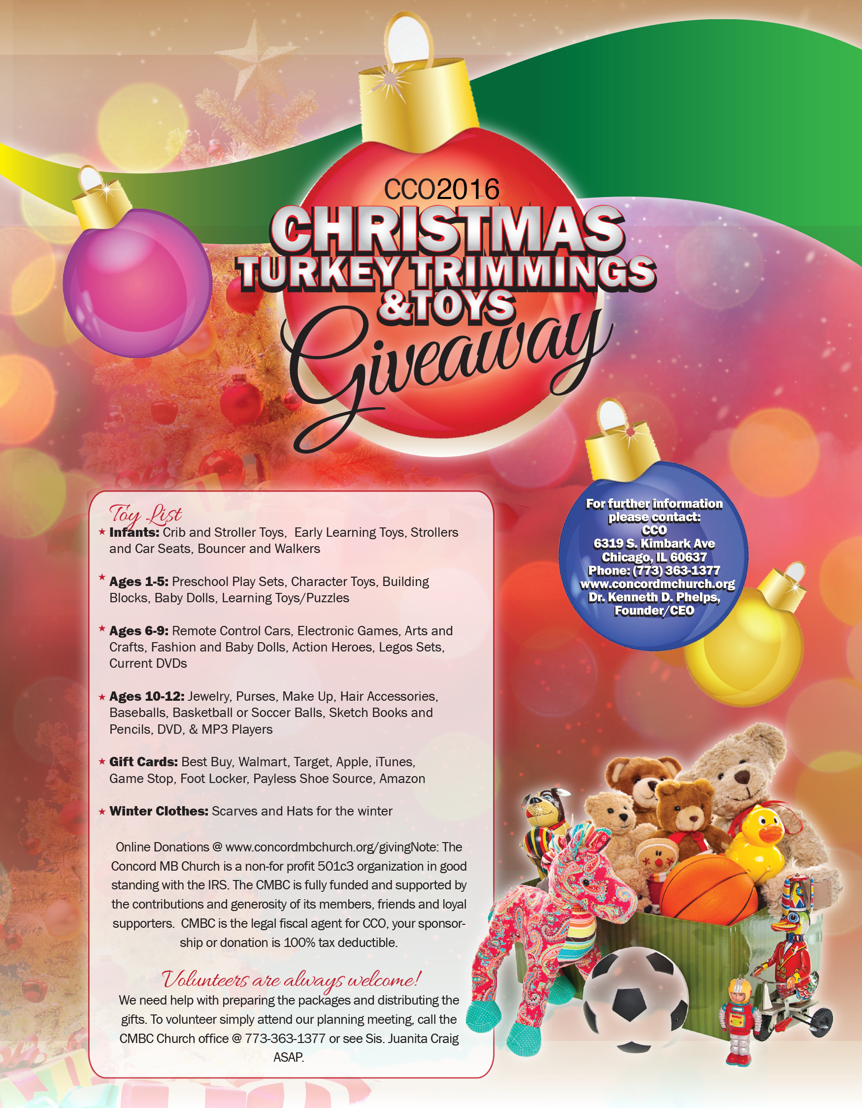 Christmas Giveaway Flyer.Cco 2016 Christmas Turkey Trimmings And Toys Giveaway Dr
